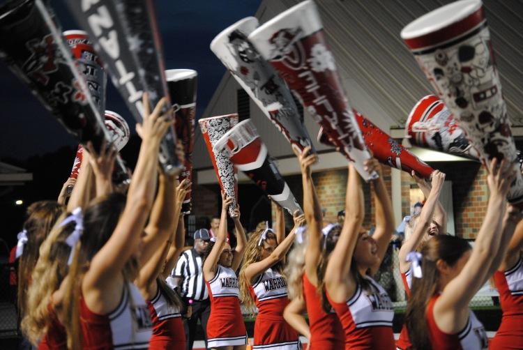 cheer, cherokee high school. cherokee, high, school, megaphones, warriors, cheerleaders, varsity