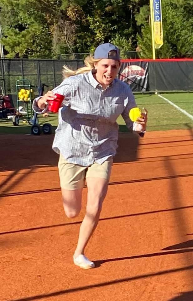 Kaley Crane runs home in costume practice.