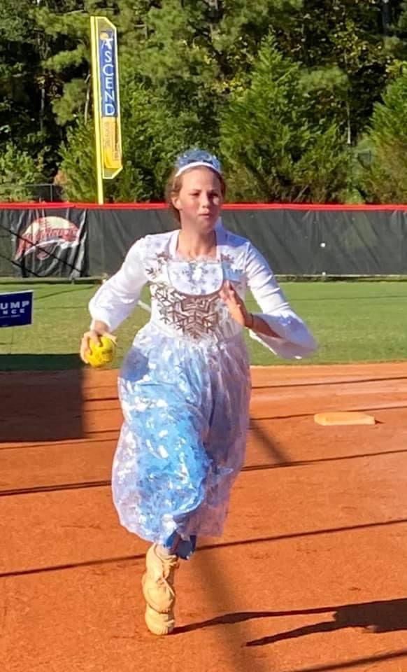 Chloe Manders races home as a princess for costume practice.