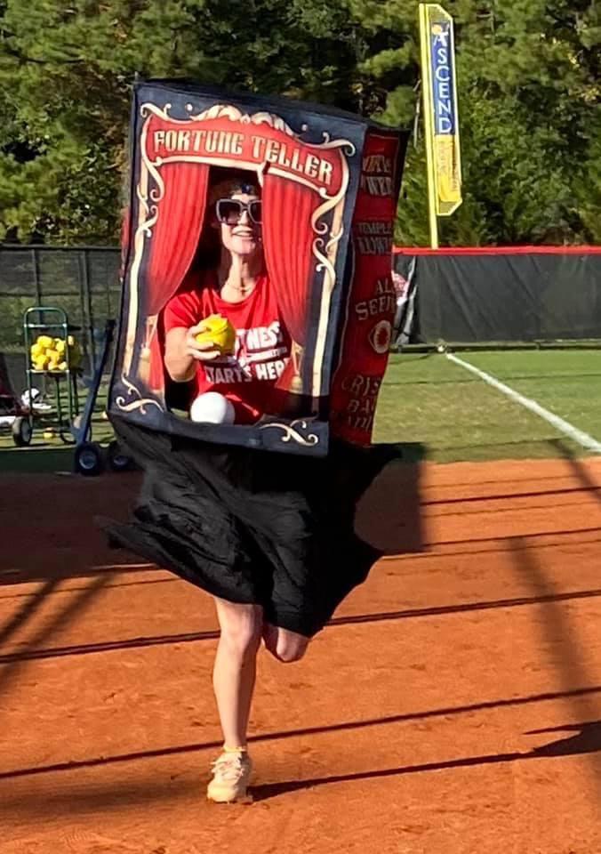 Nikki Brown races home in costume practice.