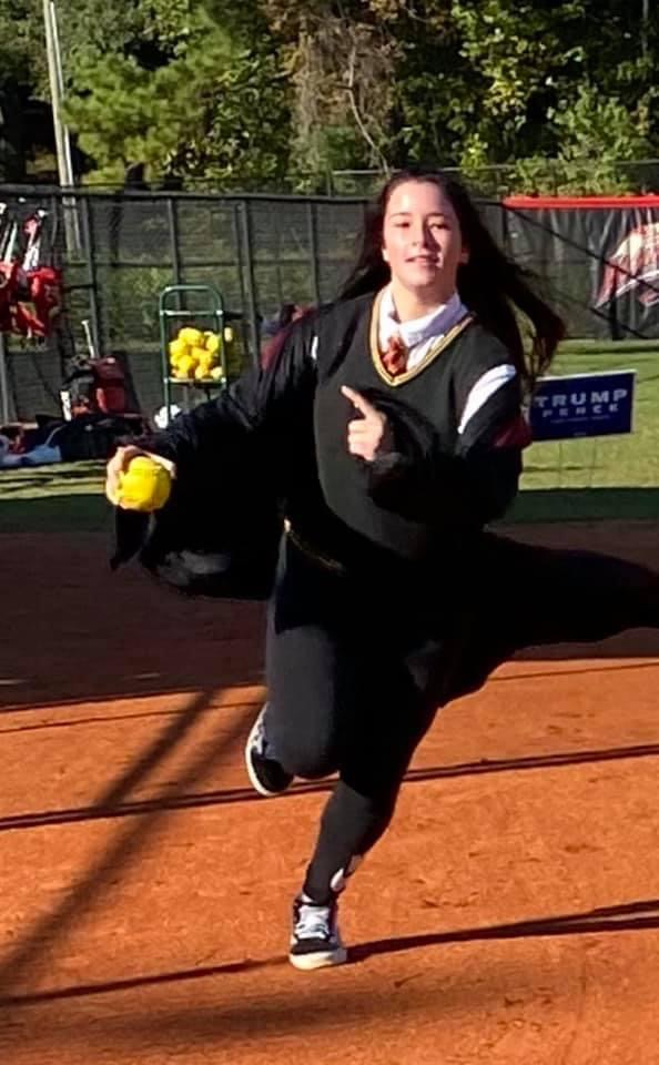 Olivia Henley runs the bases for costume practice.